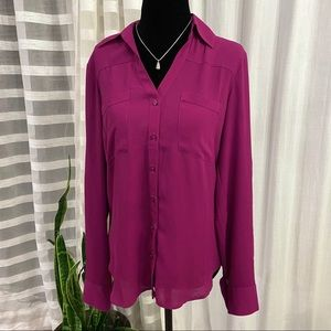Express Semi Sheer Longsleeve Button Down Blouse Size Small